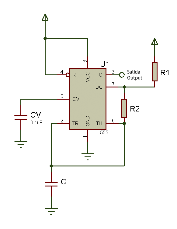 555 as astable schematic