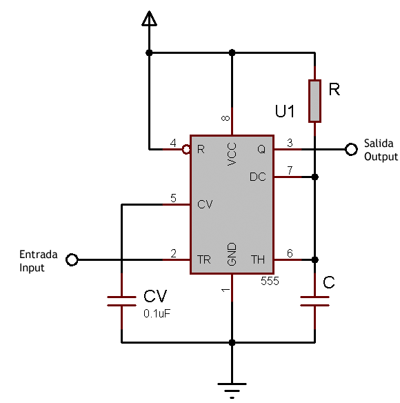 555 as monostable schematic