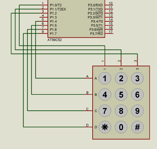 3x4 keyboard connection for microcontroller